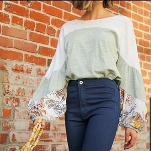 Umgee color block floral puff sleeve blouse